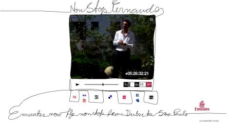 Fernando erzählt 14h40m über Brasilien für einen unkoventionellen Werbespot der Emirates Airlines (Screenshot: nonstopfernando.com)