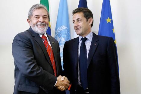 Der brasilianische Präsident Lula da Silva und der französische Präsident Nicolas Sarkozy bei einem Treffen am 25.09.2007 (Foto: Agência Brasil)
