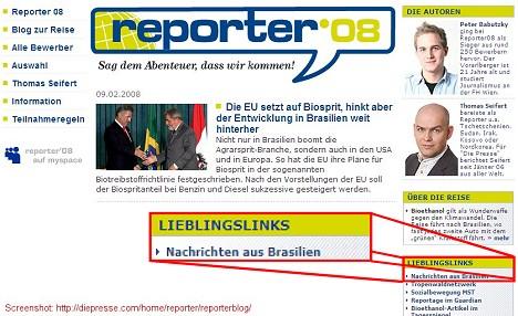 Peter Babutzky und Thomas Seifert berichten 2 Wochen aus Brasilien über Bioethanol - und haben sich und ihren Lesern den Brasilblog verlinkt (Screenshot: diepresse.com)
