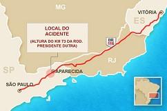 Das Unglück ereignete sich bei Aparecida, rund 167 Kilometer von São Paulo entfernt (Grafik: G1)