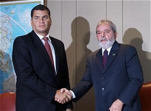 Ecuadors Präsident Correa und Staatspräsident Lula bei ihrem Treffen in Brasília am gestrigen Mittwoch (Foto: ABr)