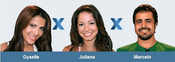 Wer muss ausziehen? Gyselle, Juliana und Marcelo stehen im Duell (Foto: bbb.globo.com)