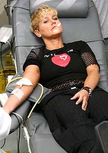Eine Blutspende kann bis zu vier Menschenleben retten. Das Foto zeigt Xuxa bei der letzten grossen Blutspende-Aktion in Brasilien (Foto:Divulgação)