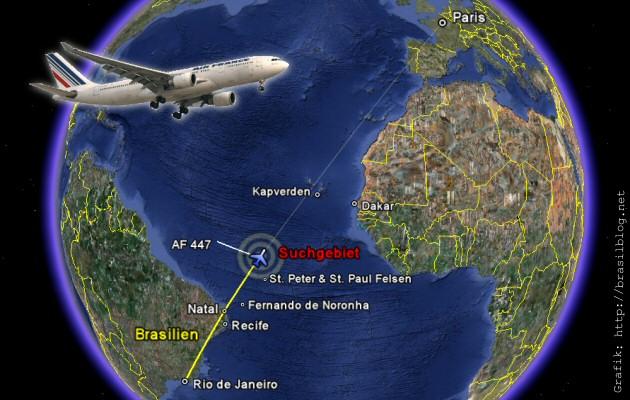 Grafik Flugzeugunglück AF447 Rio de Janeiro-Paris
